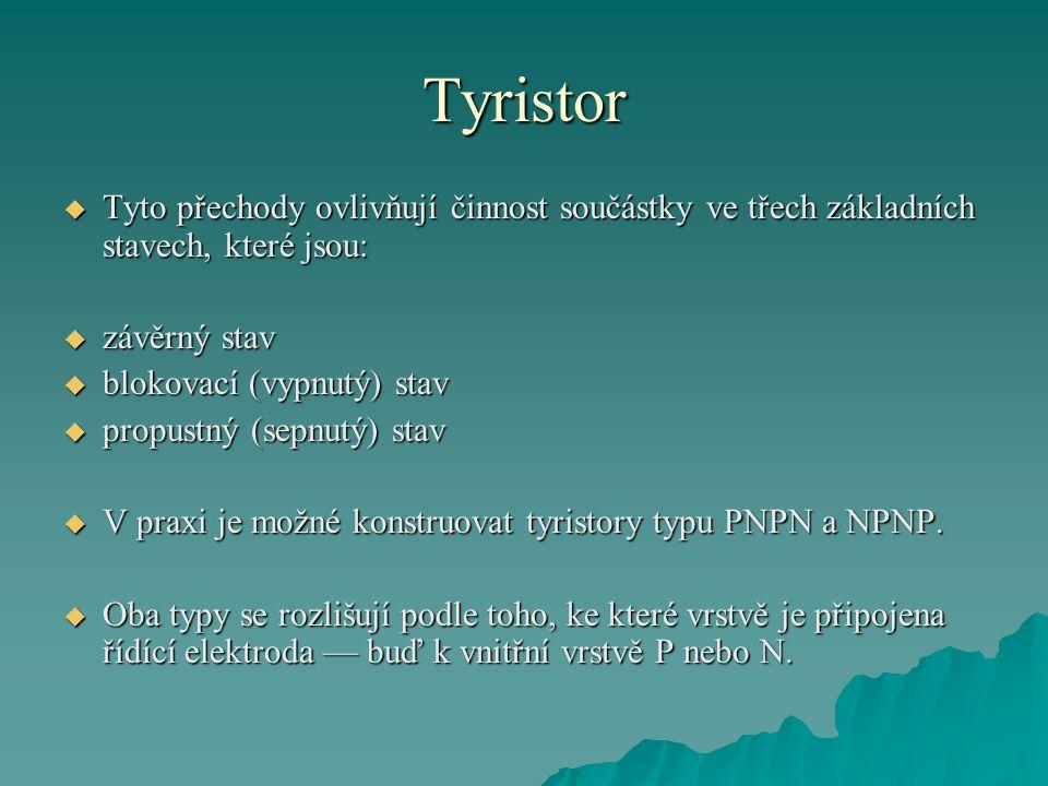 Tyristor Tyto přechody ovlivňují činnost součástky ve třech základních stavech, které jsou: závěrný stav.