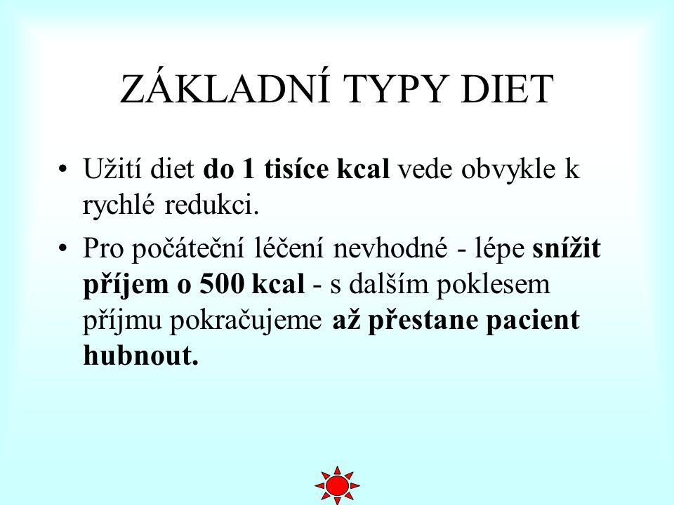 ZÁKLADNÍ TYPY DIET Užití diet do 1 tisíce kcal vede obvykle k rychlé redukci.
