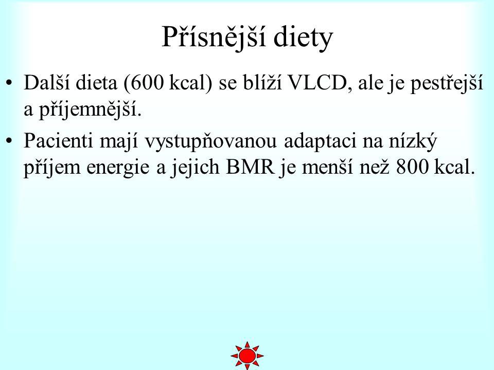 Přísnější diety Další dieta (600 kcal) se blíží VLCD, ale je pestřejší a příjemnější.