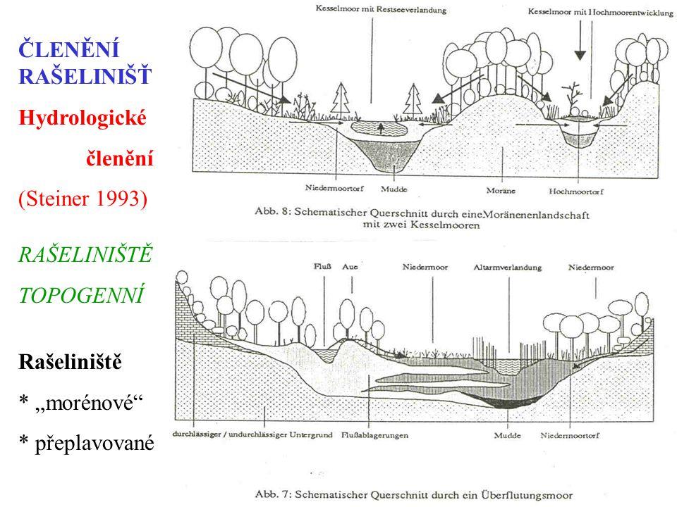 """ČLENĚNÍ RAŠELINIŠŤ Hydrologické. členění. (Steiner 1993) RAŠELINIŠTĚ. TOPOGENNÍ. Rašeliniště. * """"morénové"""