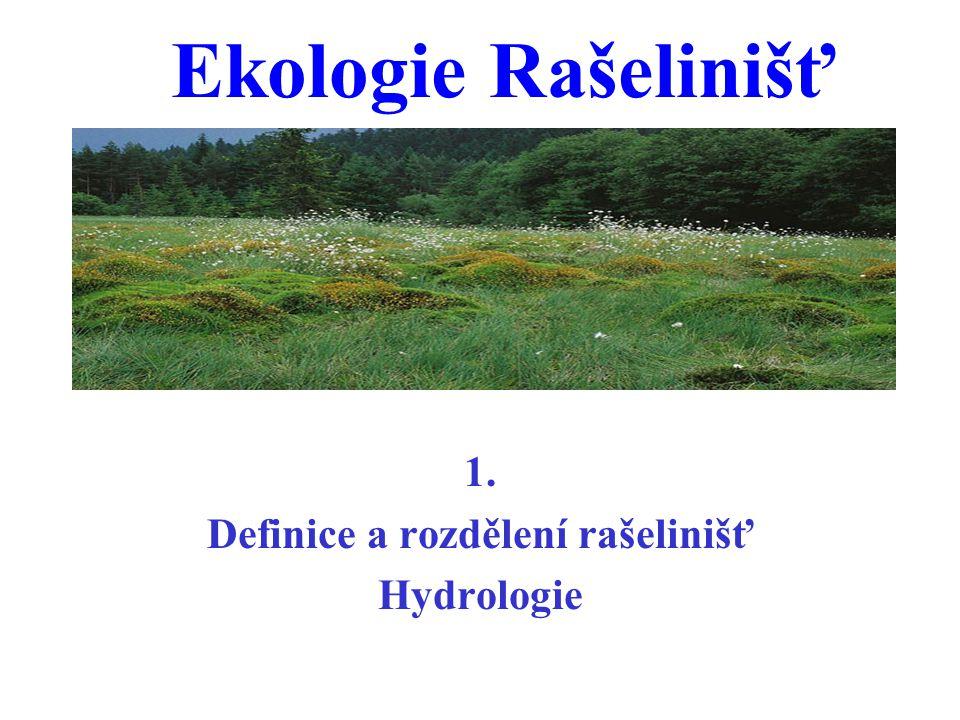 1. Definice a rozdělení rašelinišť Hydrologie