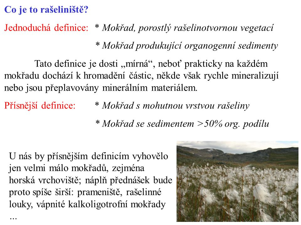 Co je to rašeliniště Jednoduchá definice: * Mokřad, porostlý rašelinotvornou vegetací. * Mokřad produkující organogenní sedimenty.