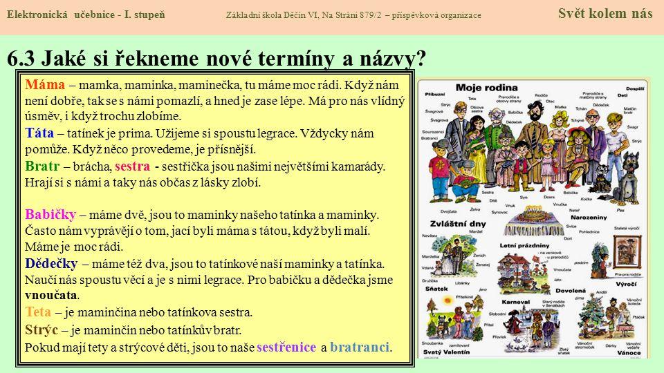 6.3 Jaké si řekneme nové termíny a názvy