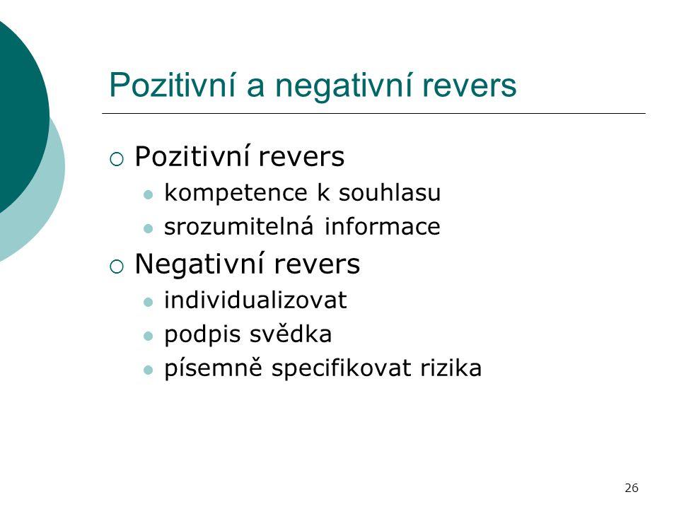 Pozitivní a negativní revers