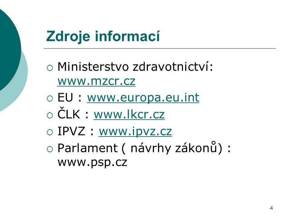Zdroje informací Ministerstvo zdravotnictví: www.mzcr.cz