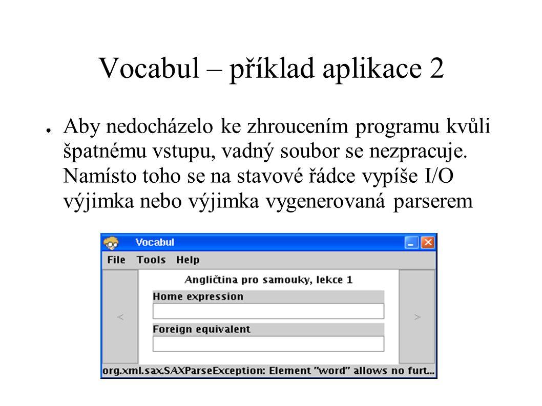 Vocabul – příklad aplikace 2