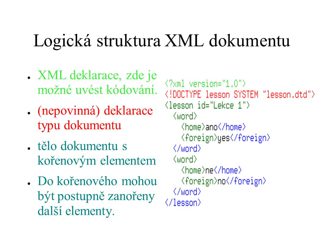 Logická struktura XML dokumentu
