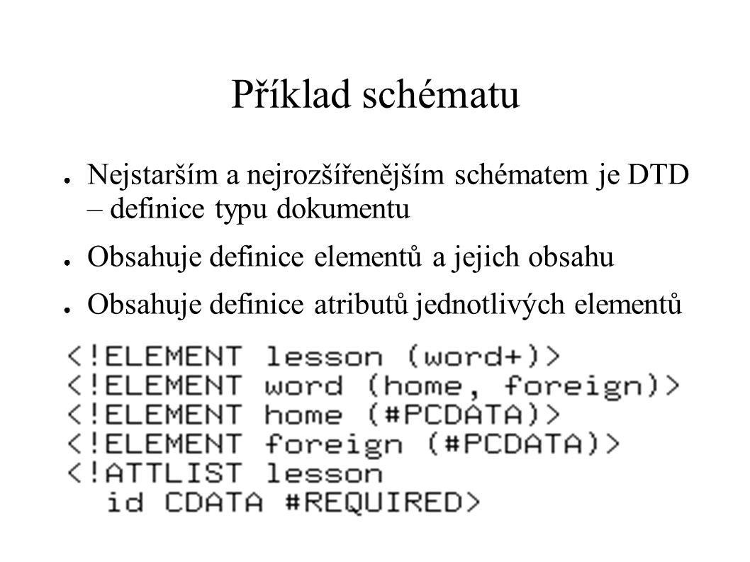 Příklad schématu Nejstarším a nejrozšířenějším schématem je DTD – definice typu dokumentu. Obsahuje definice elementů a jejich obsahu.