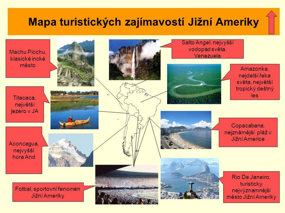 Mapa turistických zajímavostí Jižní Ameriky
