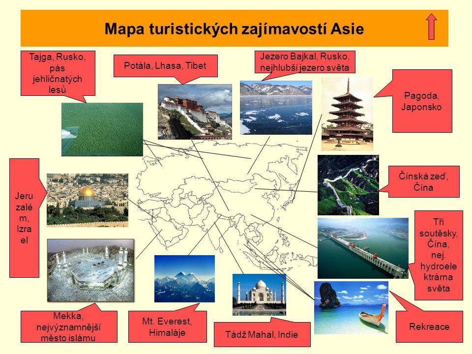 Mapa turistických zajímavostí Asie