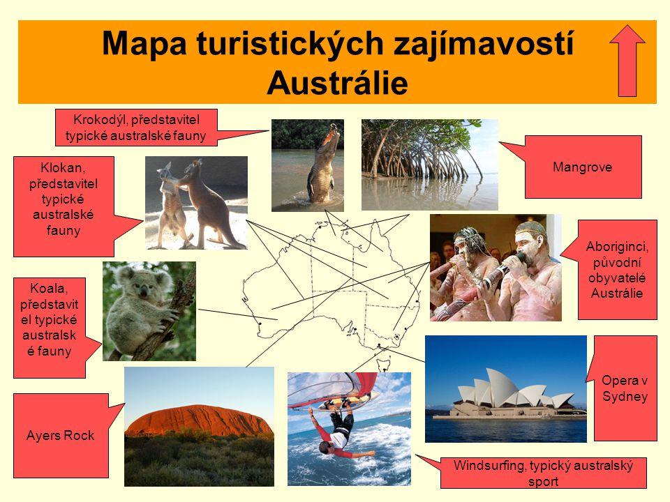 Mapa turistických zajímavostí Austrálie