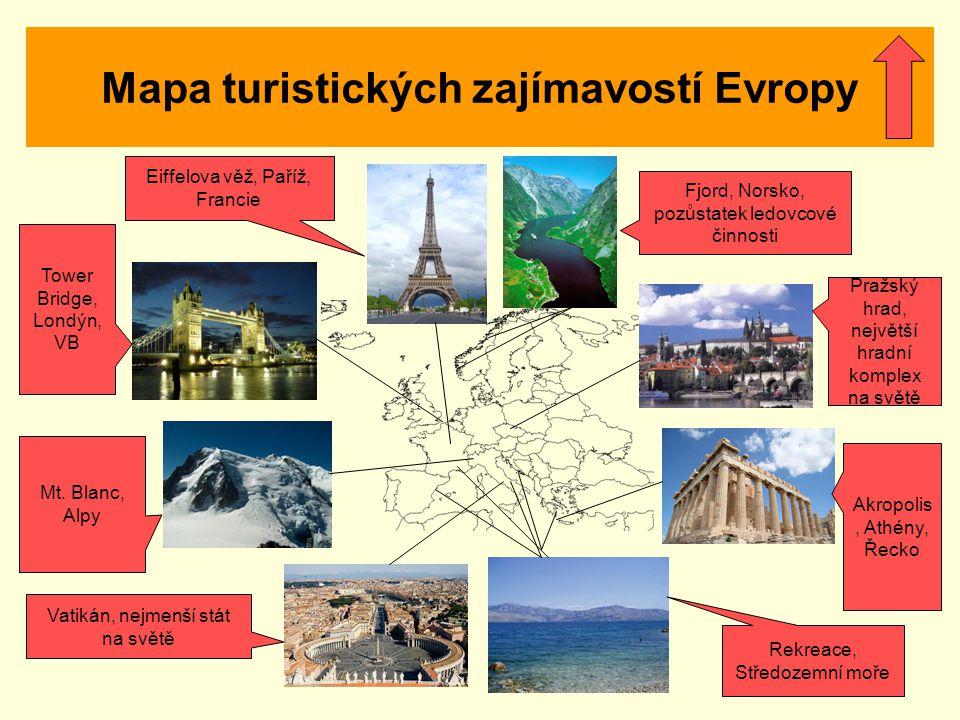 Mapa turistických zajímavostí Evropy