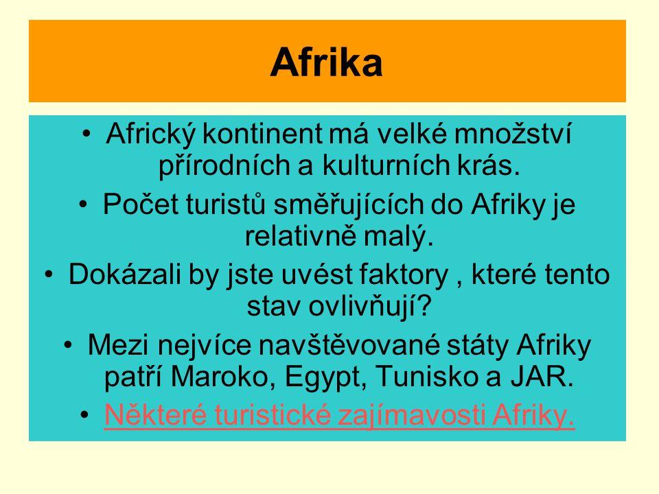 Afrika Africký kontinent má velké množství přírodních a kulturních krás. Počet turistů směřujících do Afriky je relativně malý.