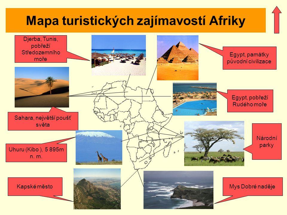 Mapa turistických zajímavostí Afriky
