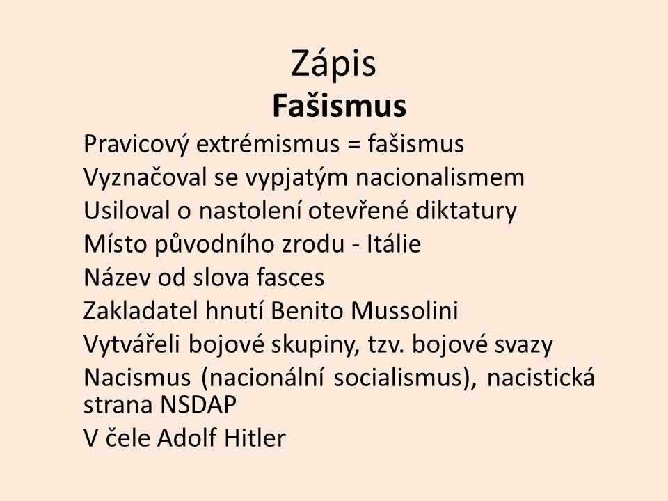 Zápis Fašismus Pravicový extrémismus = fašismus