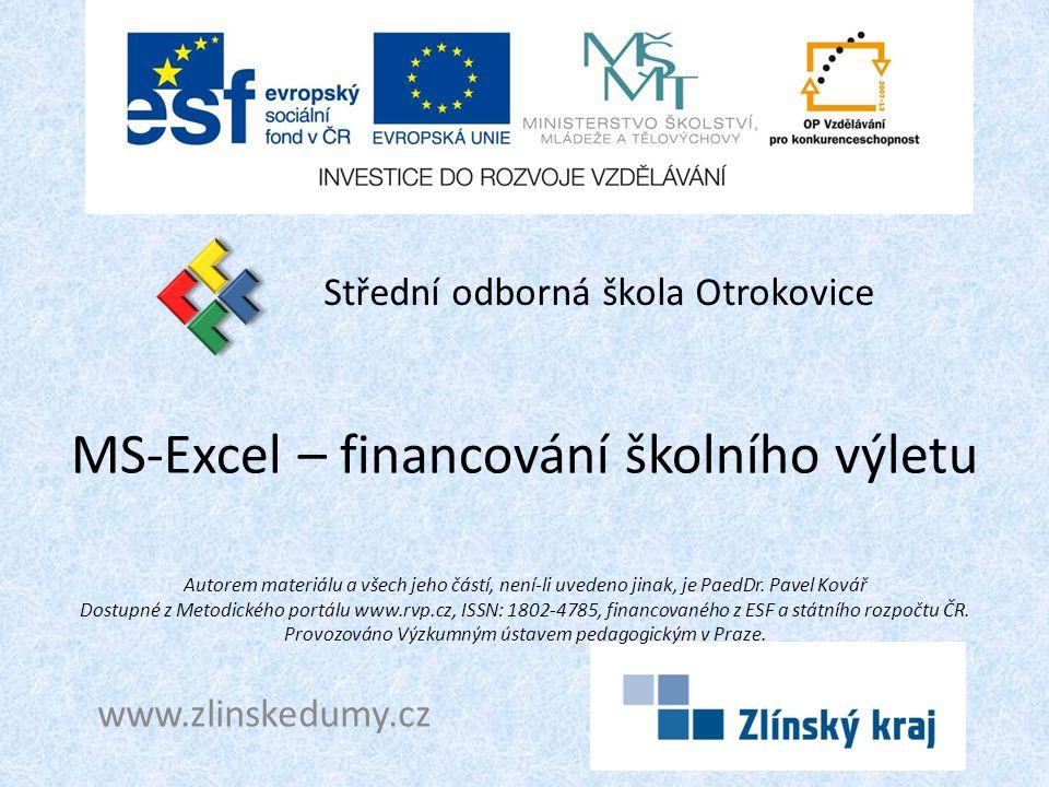 MS-Excel – financování školního výletu