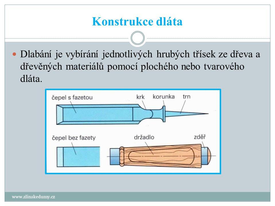 Konstrukce dláta Dlabání je vybírání jednotlivých hrubých třísek ze dřeva a dřevěných materiálů pomocí plochého nebo tvarového dláta.