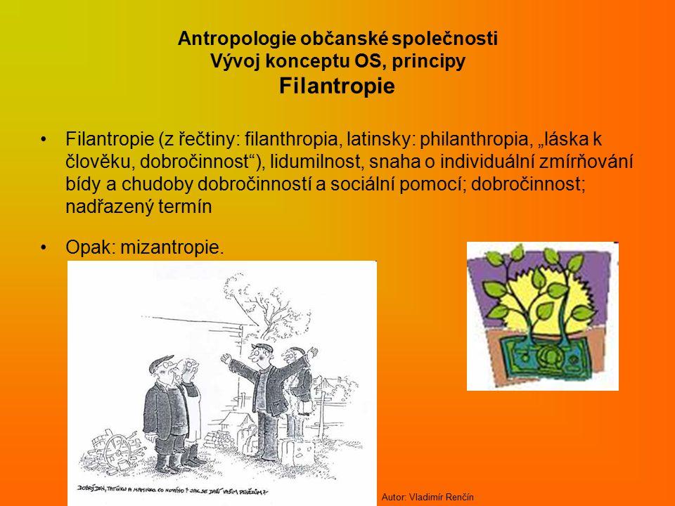 Antropologie občanské společnosti Vývoj konceptu OS, principy Filantropie