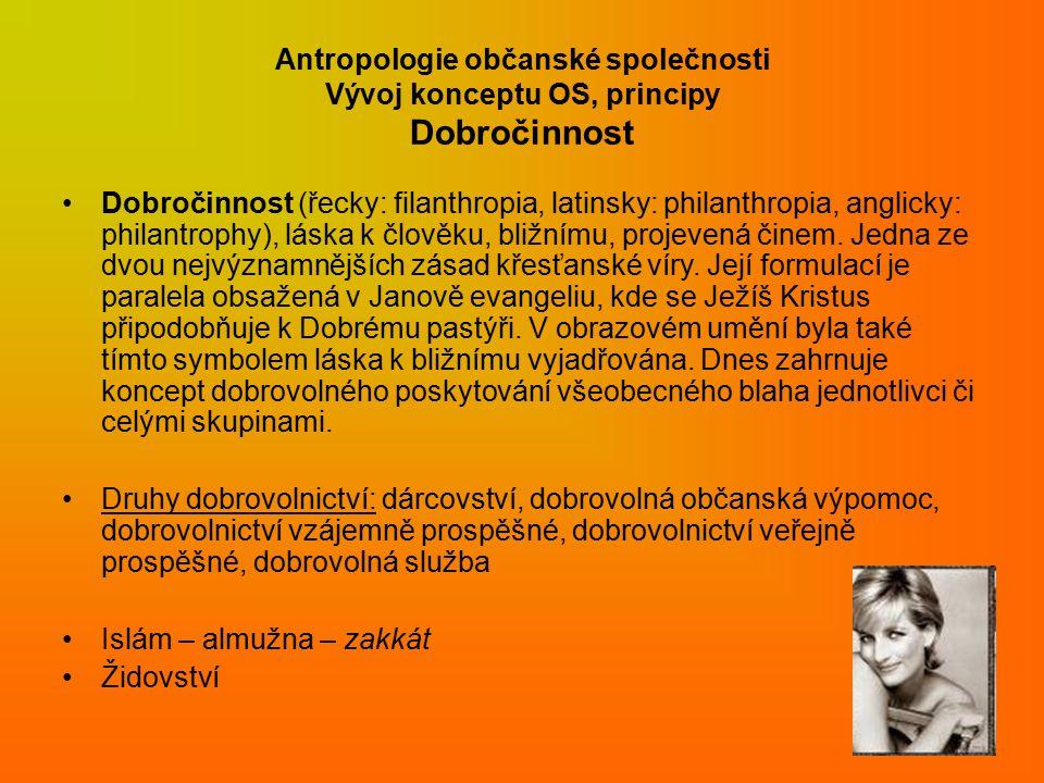 Antropologie občanské společnosti Vývoj konceptu OS, principy Dobročinnost