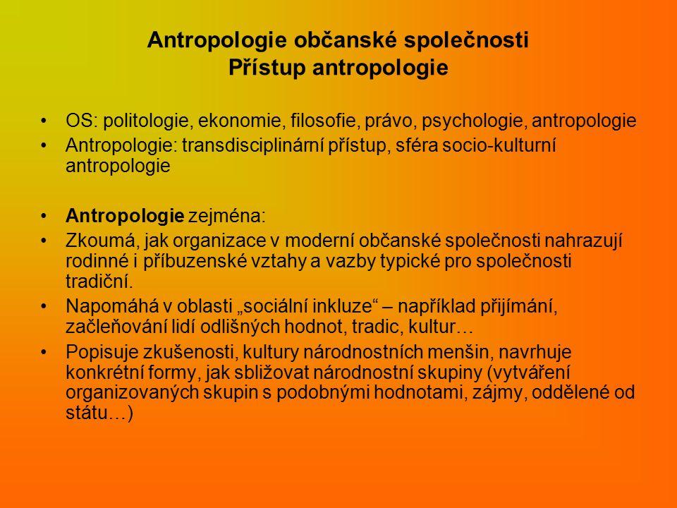 Antropologie občanské společnosti Přístup antropologie