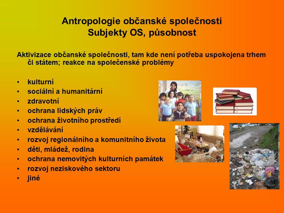 Antropologie občanské společnosti Subjekty OS, působnost