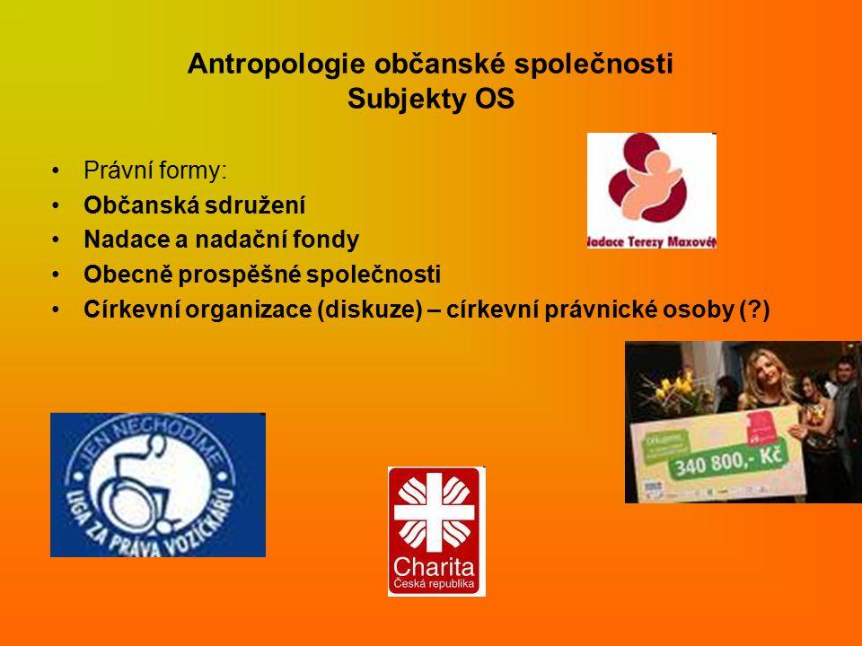 Antropologie občanské společnosti Subjekty OS