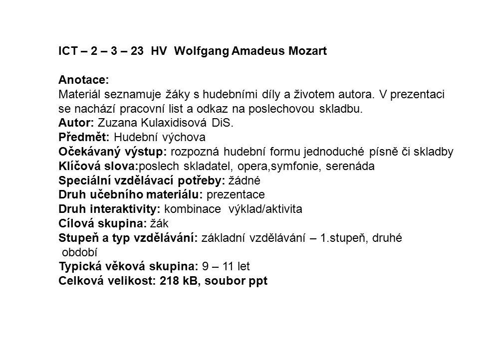 ICT – 2 – 3 – 23 HV Wolfgang Amadeus Mozart