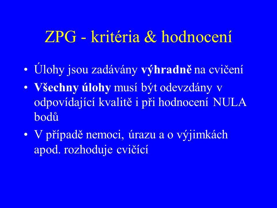 ZPG - kritéria & hodnocení