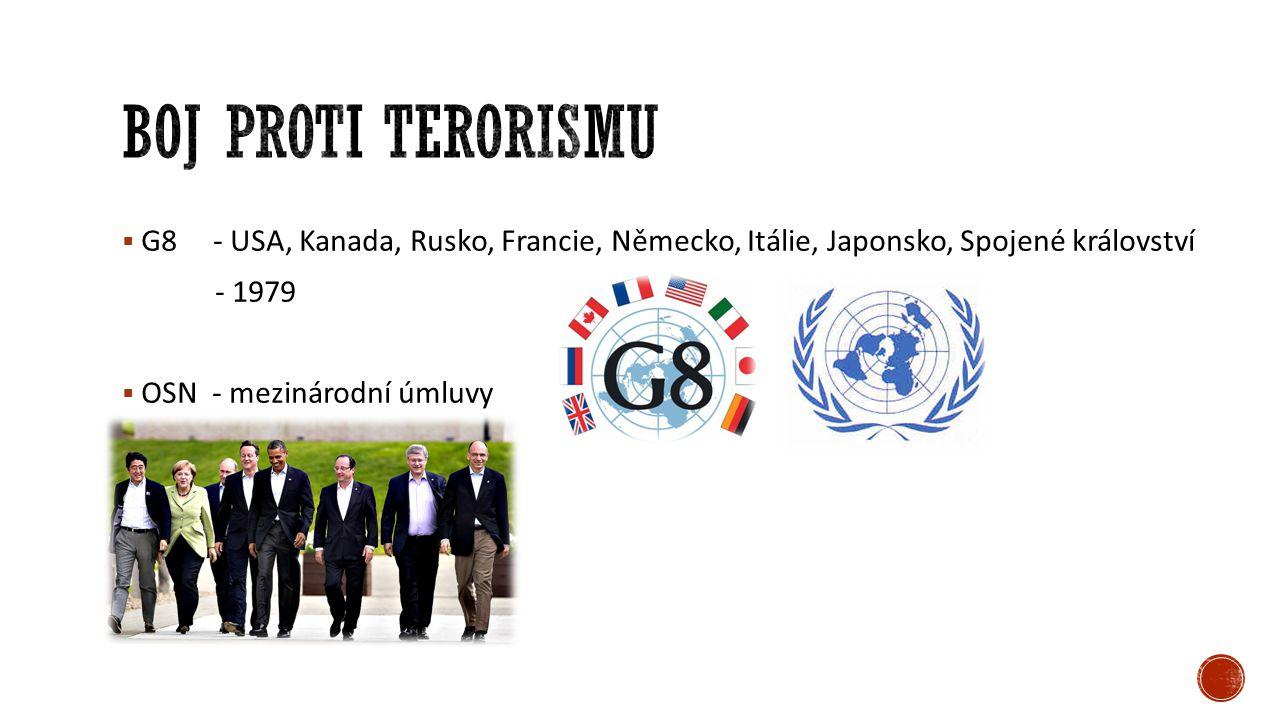 Boj proti terorismu G8 - USA, Kanada, Rusko, Francie, Německo, Itálie, Japonsko, Spojené království.