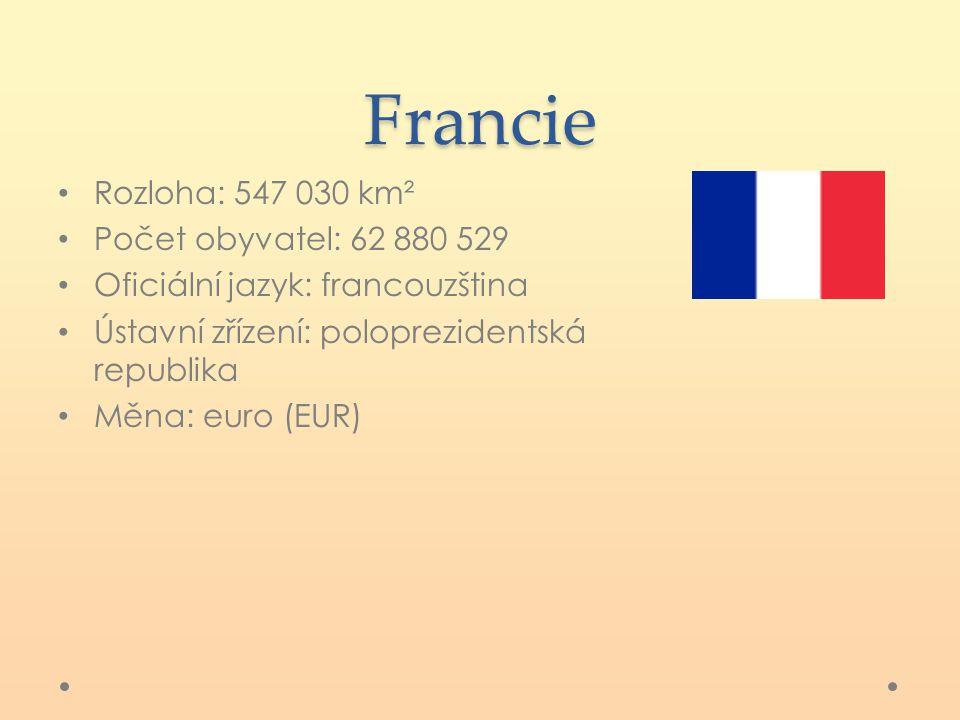 Francie Rozloha: 547 030 km² Počet obyvatel: 62 880 529