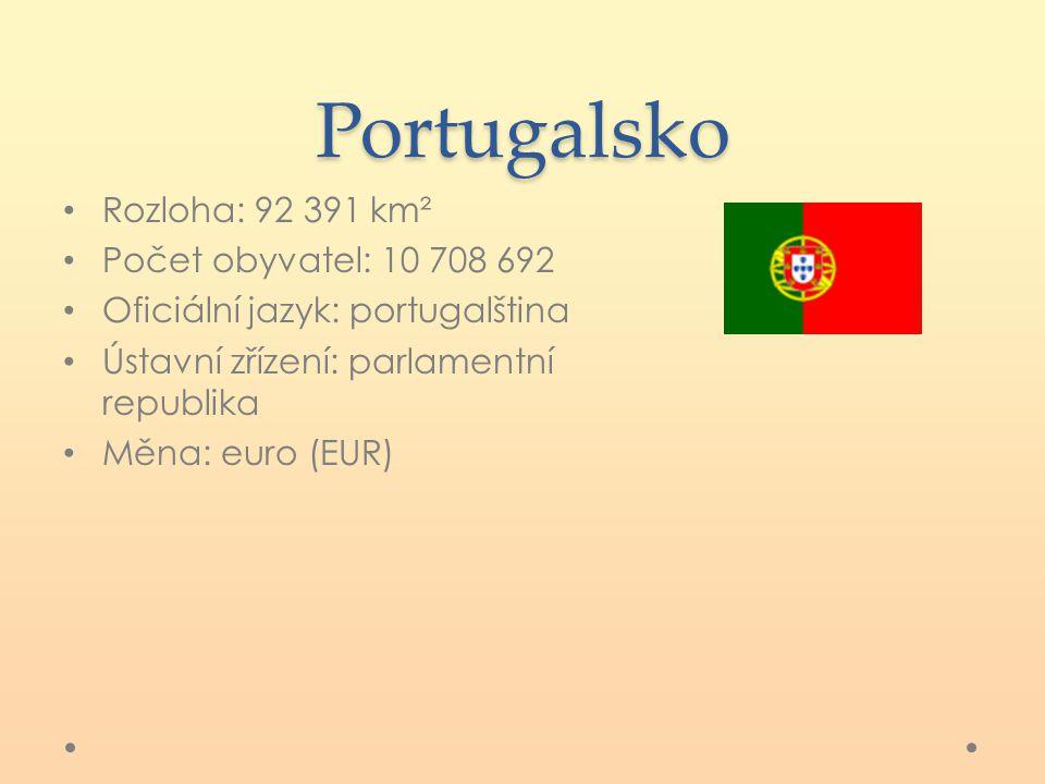Portugalsko Rozloha: 92 391 km² Počet obyvatel: 10 708 692