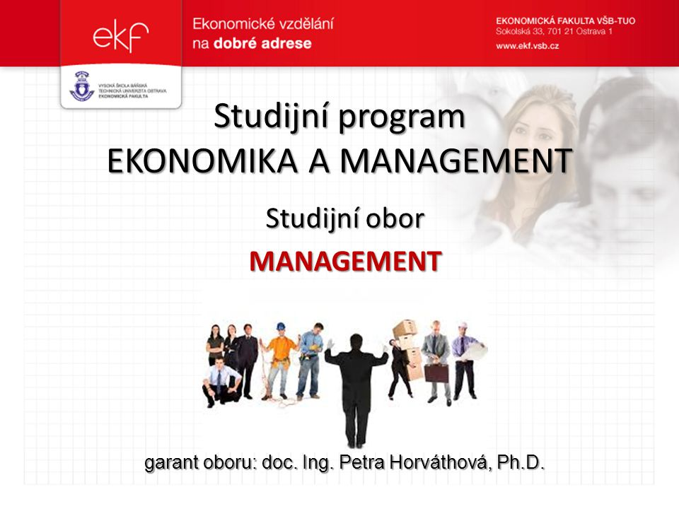 Studijní program Ekonomika a management