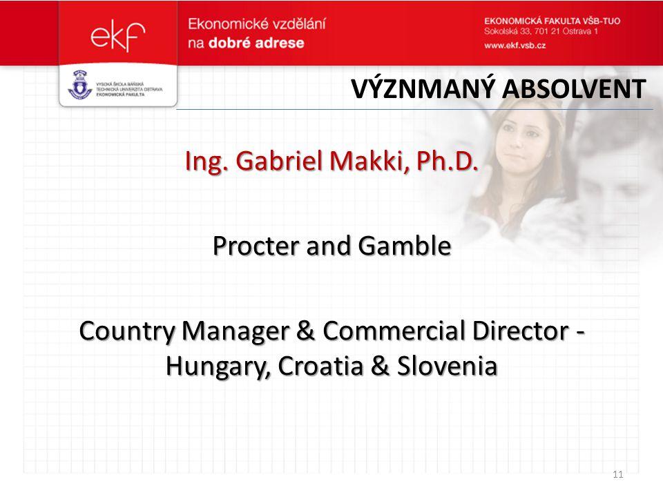 VÝZNMANÝ ABSOLVENT Ing. Gabriel Makki, Ph.D.