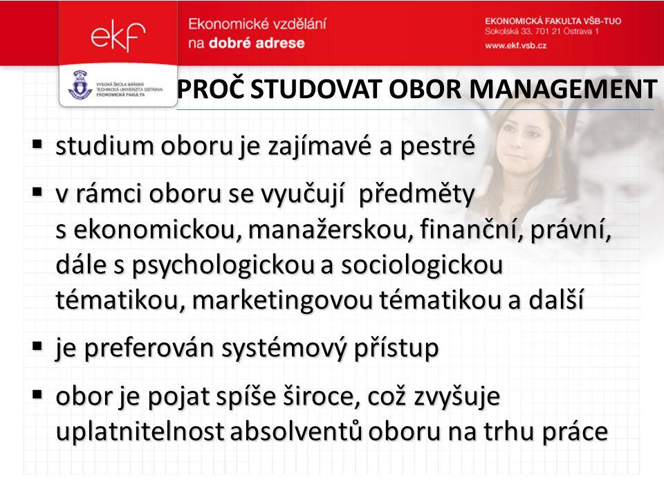 Proč studovat obor management