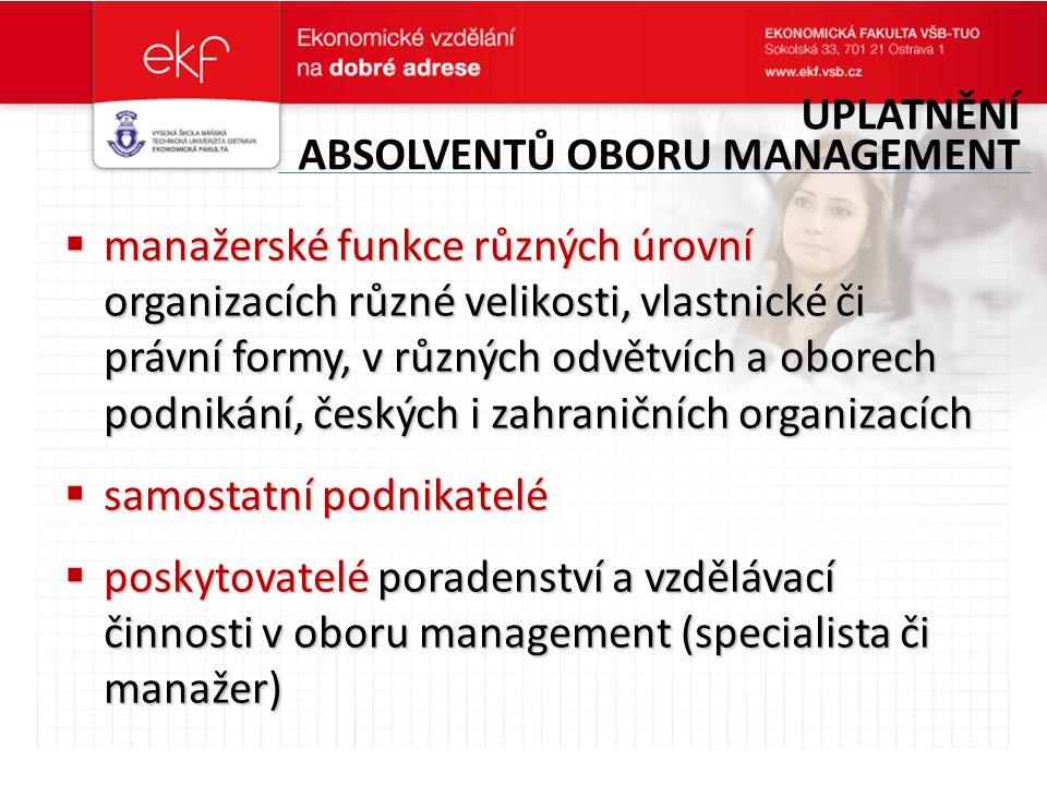 Uplatnění absolventů oboru management