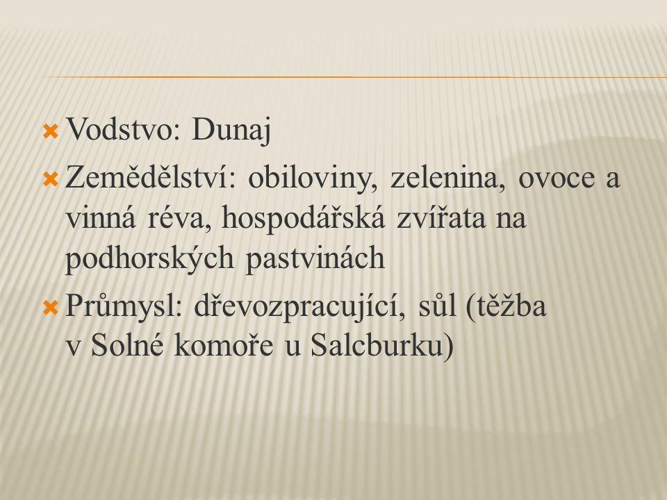Vodstvo: Dunaj Zemědělství: obiloviny, zelenina, ovoce a vinná réva, hospodářská zvířata na podhorských pastvinách.