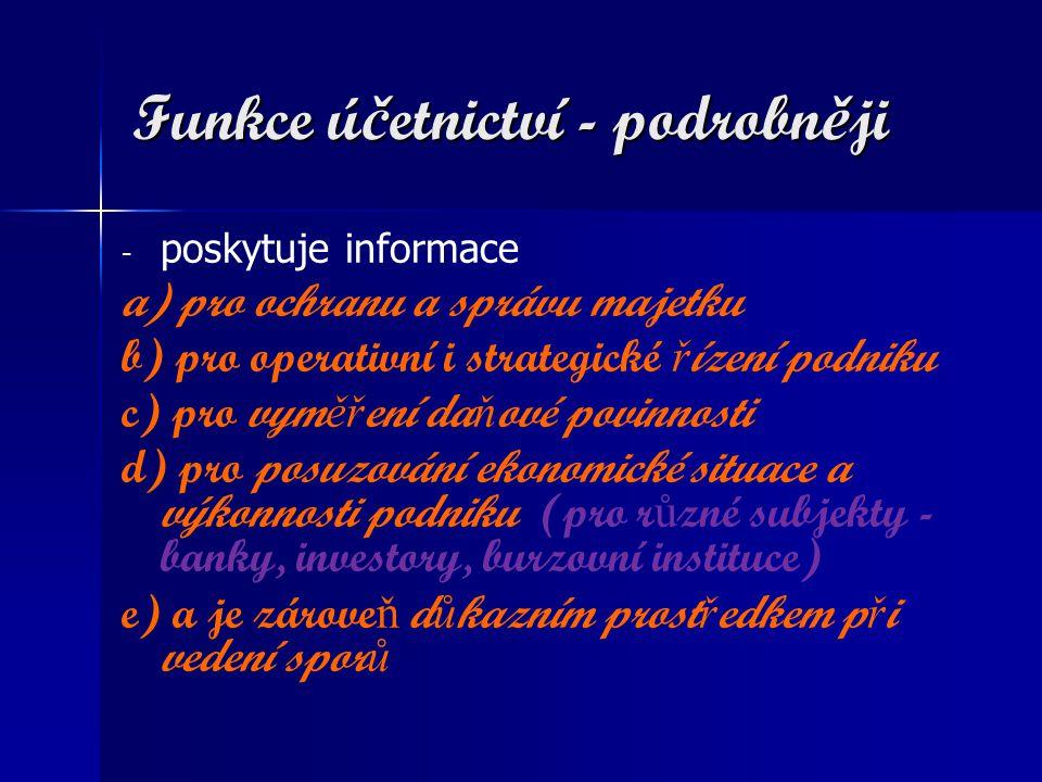 Funkce účetnictví - podrobněji