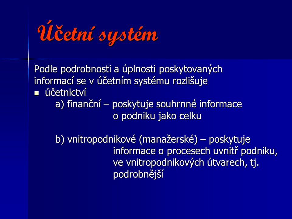 Účetní systém Podle podrobnosti a úplnosti poskytovaných