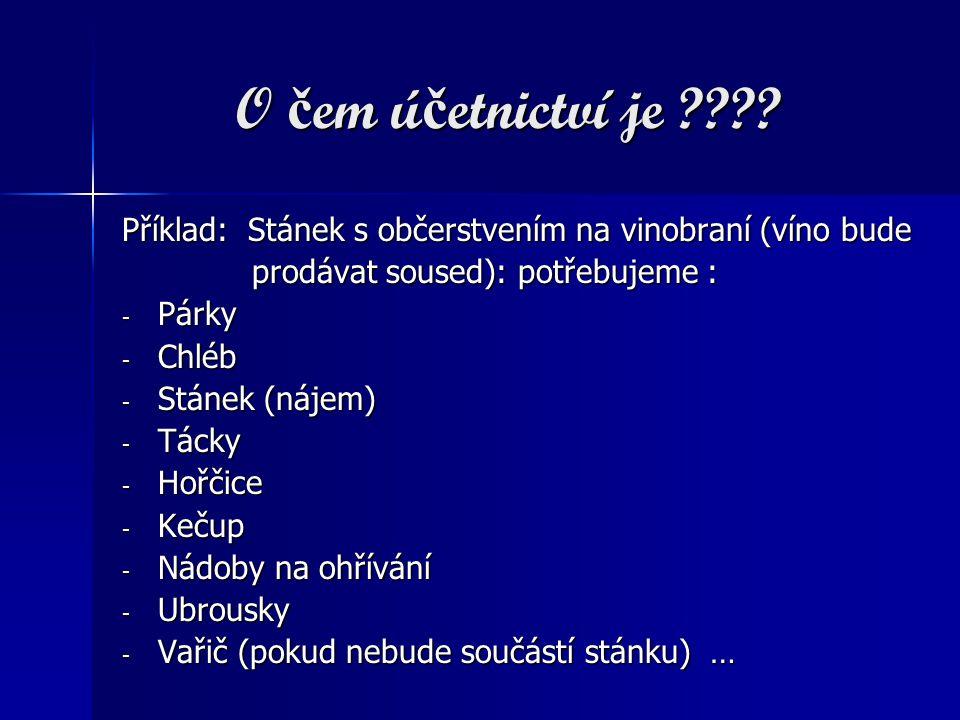 O čem účetnictví je Příklad: Stánek s občerstvením na vinobraní (víno bude. prodávat soused): potřebujeme :