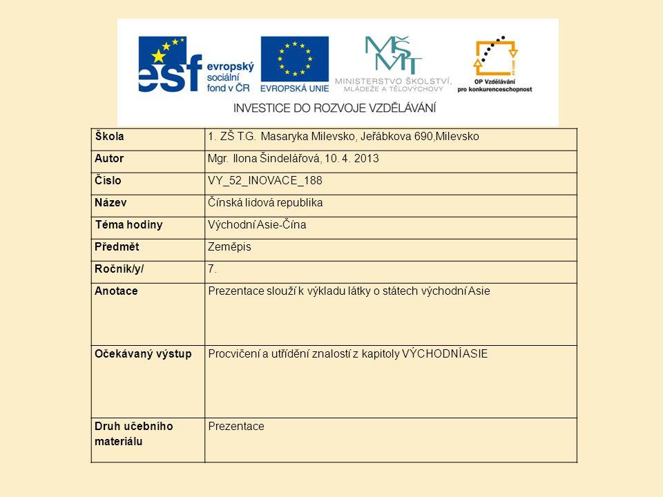 Škola 1. ZŠ T.G. Masaryka Milevsko, Jeřábkova 690,Milevsko. Autor. Mgr. Ilona Šindelářová, 10. 4. 2013.