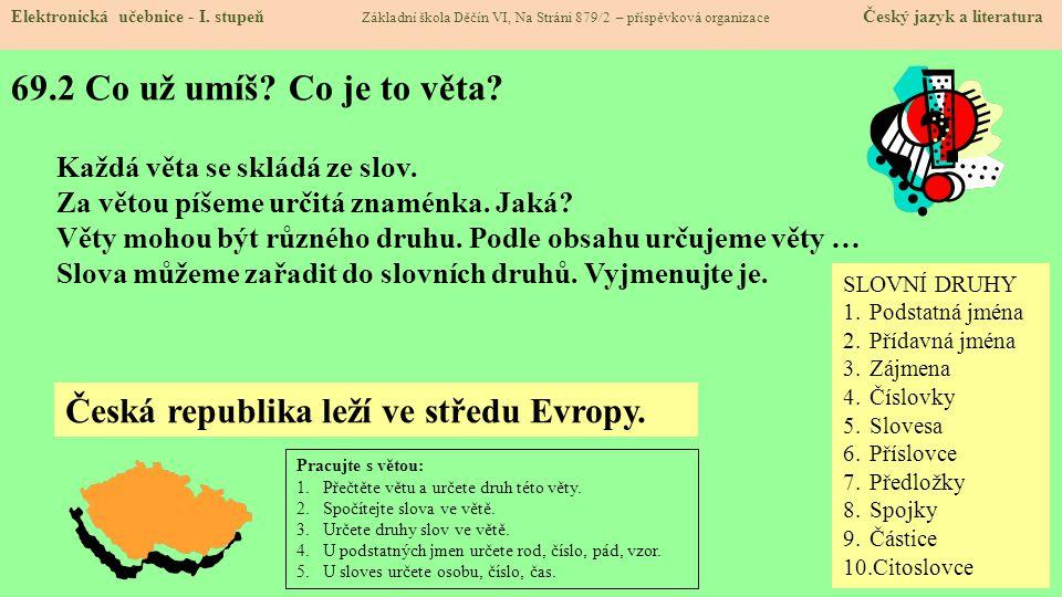 69.2 Co už umíš Co je to věta Česká republika leží ve středu Evropy.