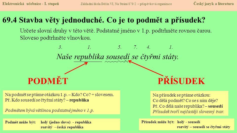 69.4 Stavba věty jednoduché. Co je to podmět a přísudek