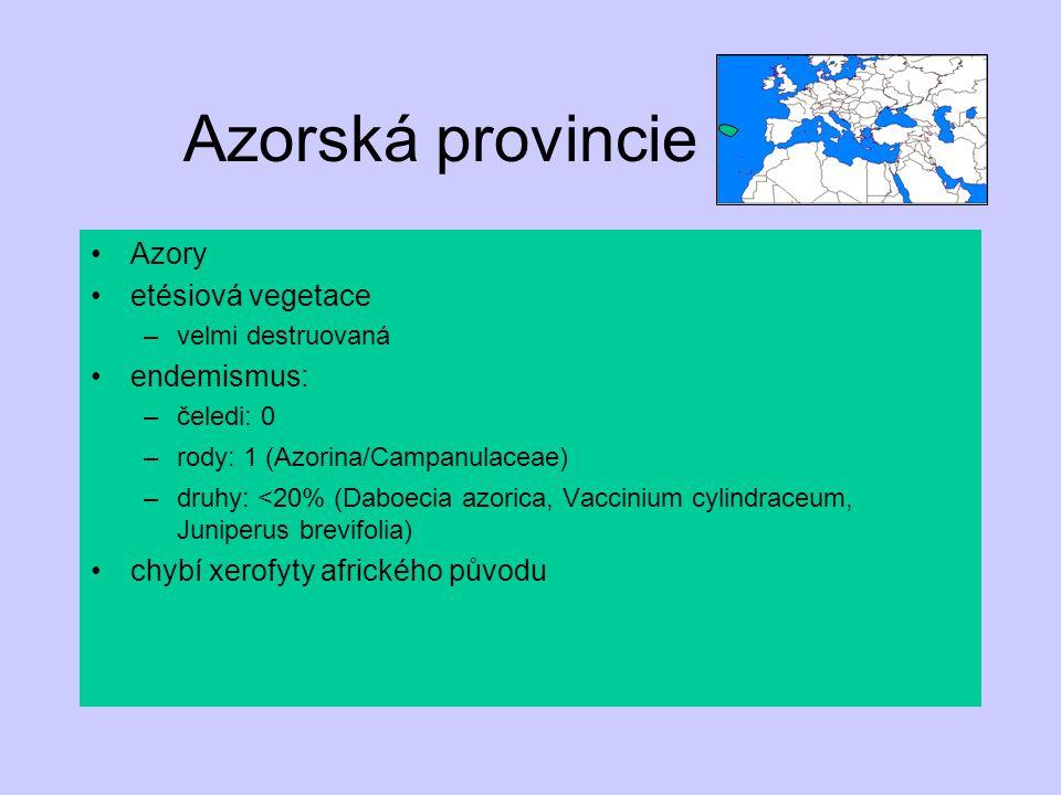 Azorská provincie Azory etésiová vegetace endemismus: