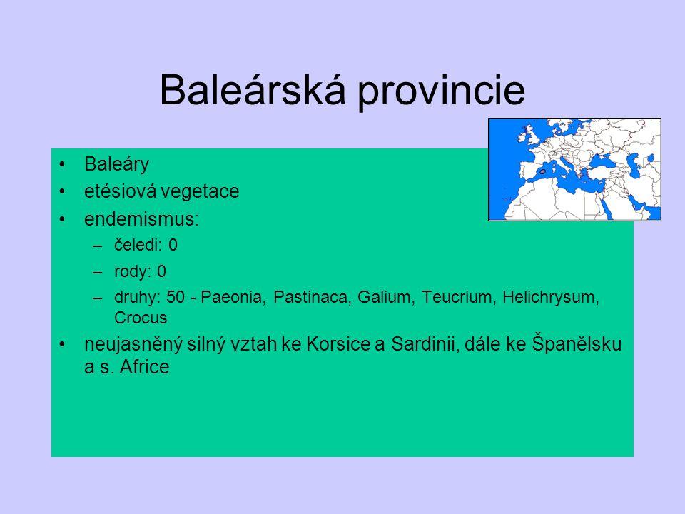 Baleárská provincie Baleáry etésiová vegetace endemismus: