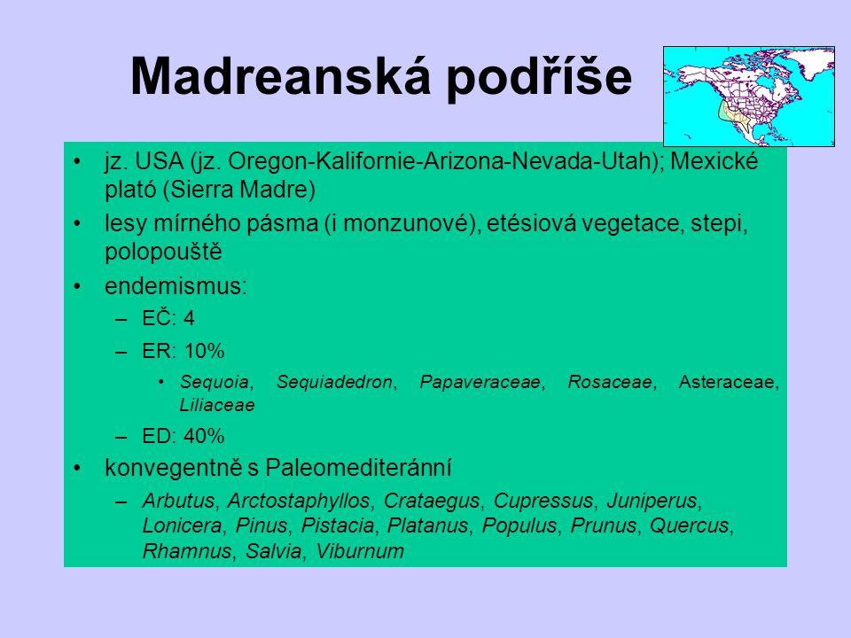 Madreanská podříše jz. USA (jz. Oregon-Kalifornie-Arizona-Nevada-Utah); Mexické plató (Sierra Madre)