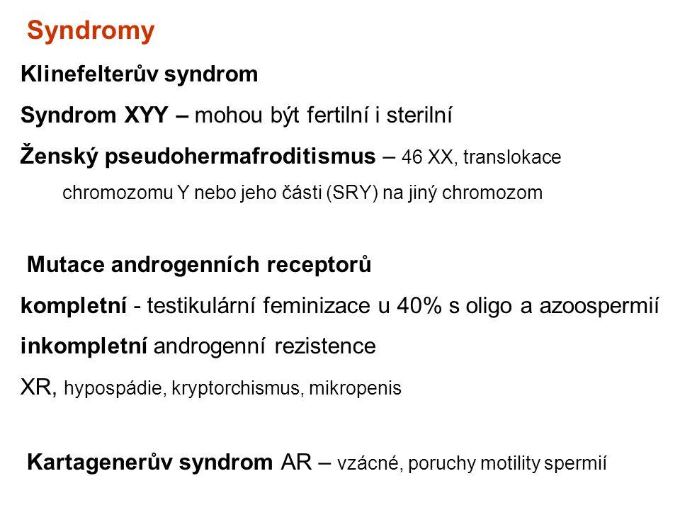 Klinefelterův syndrom Syndrom XYY – mohou být fertilní i sterilní