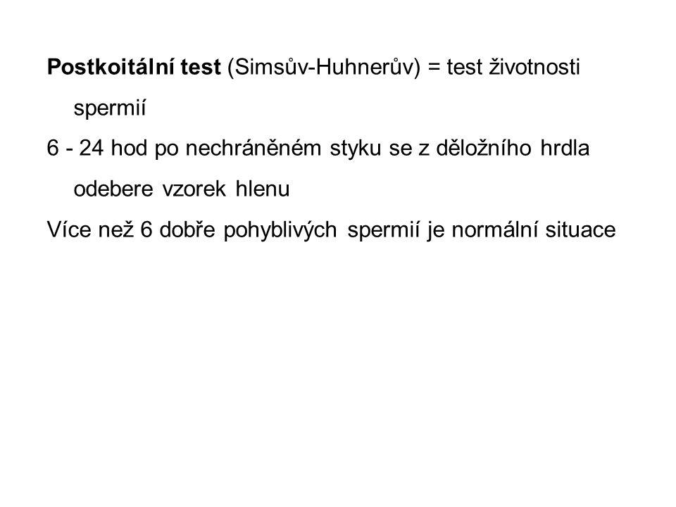 Postkoitální test (Simsův-Huhnerův) = test životnosti spermií