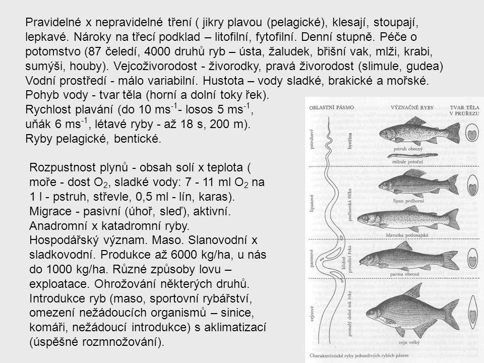 Pravidelné x nepravidelné tření ( jikry plavou (pelagické), klesají, stoupají, lepkavé. Nároky na třecí podklad – litofilní, fytofilní. Denní stupně. Péče o potomstvo (87 čeledí, 4000 druhů ryb – ústa, žaludek, břišní vak, mlži, krabi, sumýši, houby). Vejcoživorodost - živorodky, pravá živorodost (slimule, gudea)