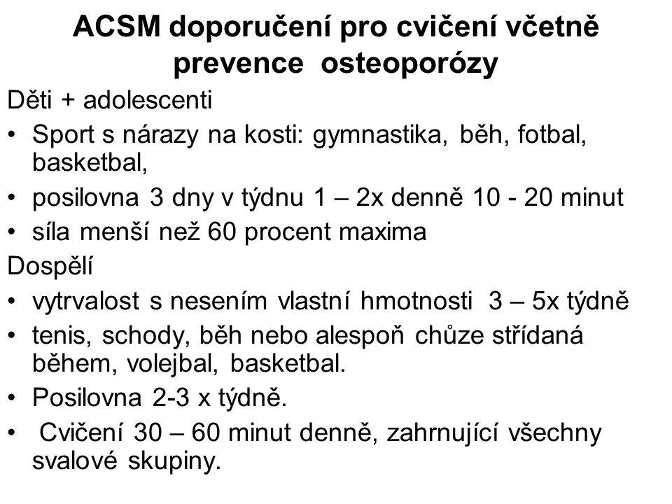 ACSM doporučení pro cvičení včetně prevence osteoporózy