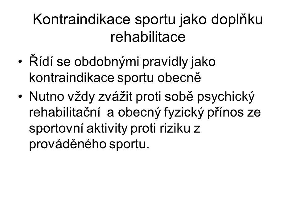 Kontraindikace sportu jako doplňku rehabilitace
